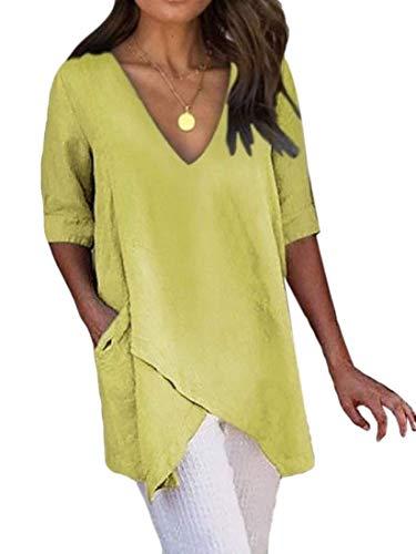H&E Women Solid Pockets V Neck Tops Asymmetric Hem 1/2 Sleeve T-Shirt Blouse Yellow US 3XL