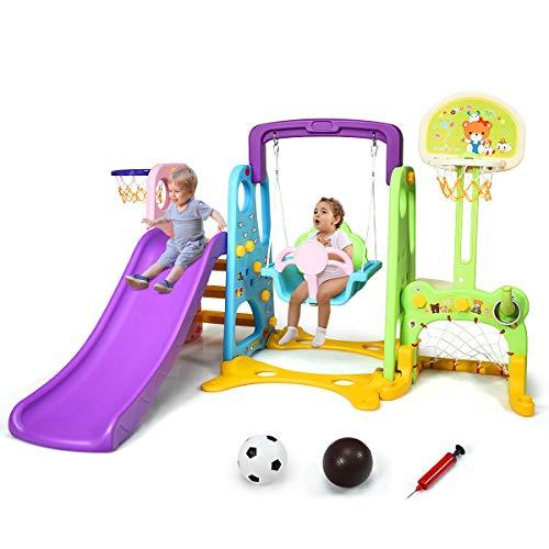COSTWAY Parco Giochi 6 in 1 Multi Giochi da Giardino, con Altalena e Scivolo, Pallacanestro e Porta da Calcio, per Bambini