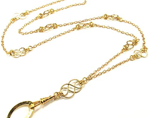 Brenda Elaine Jewelry Gold Plated Women's Fashion Lanyard Necklace ID Badge Holder, 32 Inch Gold Chain with Multiple Gold Celtic Knots & Rear Magnetic Break Away Clasp