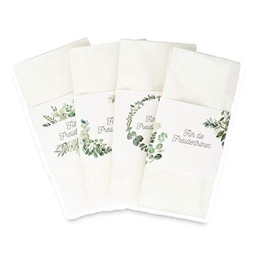 Weddimoo 20 Banderolen | Freudentränen | für kleine Gastgeschenke | Hochzeit | Naturpapier | Eukalyptus Design | Schnellverschluss & kein kleben |