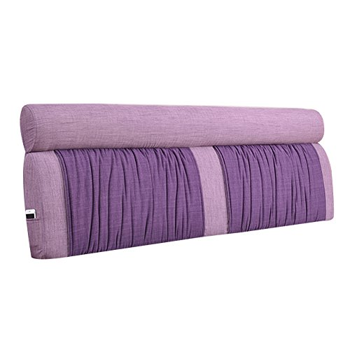XUQIANG Bed Soft Pack Large Back Solid Wood Bed Cover Pillow Double Tatami Fabric Bed Cushion Washable, Purple, 150x10x60cm