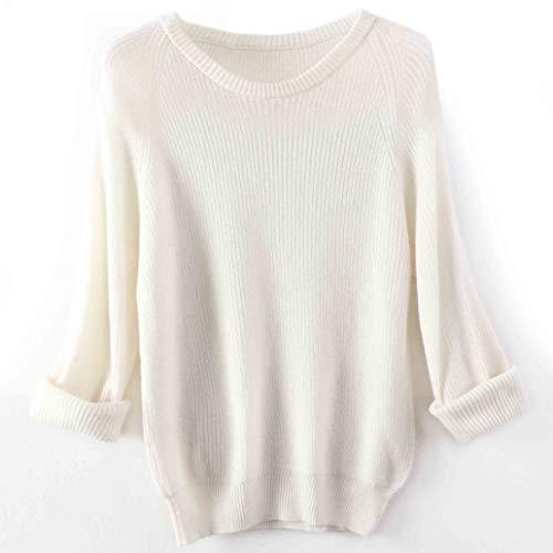 Jersey Suéter Sweater Suéter De Gran Tamaño para Mujer, Suéter Largo, Suelto, Vintage, Jersey De Punto Suave, Jersey para Mujer, Suéter, Vestido M M2-Blanco