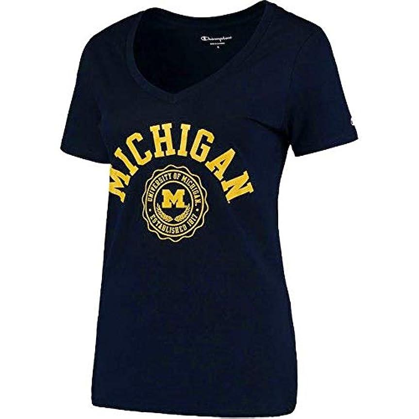 韓国語対応する絶縁するChampion Champion Michigan Wolverines Women's Navy College Seal V-Neck T-Shirt スポーツ用品 【並行輸入品】