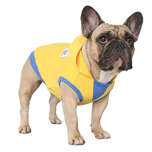 iChoue Pet Clothes Dog Hoodie Sleeveless Hooded Sweatshirt Pullover French Bulldog Frenchie Shiba Inu Cotton Pullover Coat Clothing - Yellow/Size M