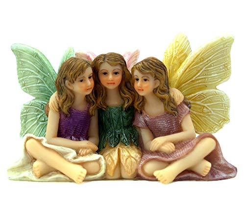 Figuras de hadas de jardín de hadas en miniatura, 3 hermosas hadas sentadas, Forever Friends, suministros de jardín de hadas, 1 unidad