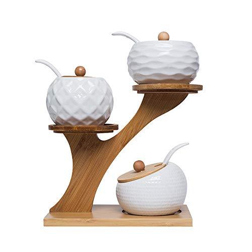 YCX Keramik Gewürzglas Gewürzhalter Aus Keramik Und Bambus Drehbare Gewürzregal Gewürzdosen,Keramik Bambus Deckel Löffel Halterung,Weiß