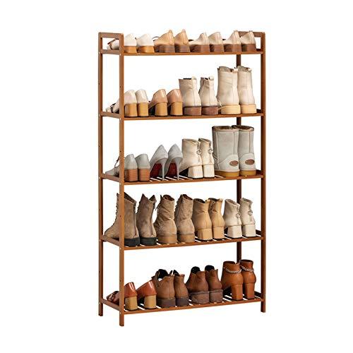 Zapatero Estante de zapatos de bambú Estante de almacenamiento de 5 niveles Ideal para el pasillo Baño Sala de estar Rack de almacenamiento de gran capacidad 26.7 * 9.8 * 50.3 IN (W * D * H) Estante d