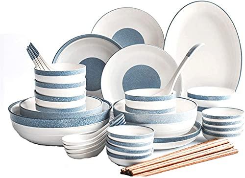 Juego de platos, Combinación de vajillas Un conjunto de vajillas de porcelana de 56 piezas para familias: el diseño simple puede acomodar a 12 personas para usar la vajilla para las comidas, la caja f