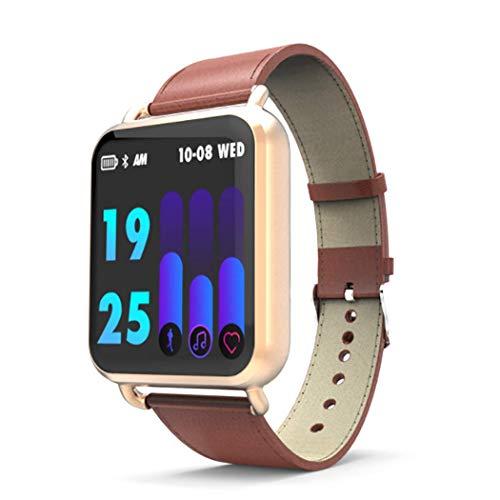 Fitnessarmband voor vrouwen en mannen, activiteitstracker met hartslagfrequentie, IP67 waterdicht, stappenteller, push smartwatch voor Android iOS Running Riding, goud.
