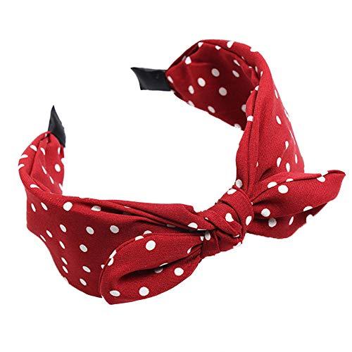 ValianhAgen Damen-Haarreif mit Schleife, gepunktet, breites Band, für Damen rot