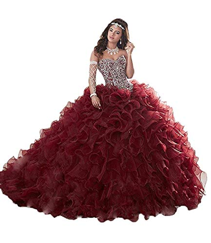 Unions Women's Ruffle Quinceanera Dresses Organza Prom Ball Gowns Plus Size