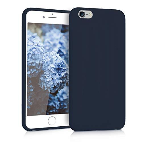 kwmobile Funda Compatible con Apple iPhone 6 Plus / 6S Plus - Carcasa de TPU Silicona - Protector Trasero en Azul Marino