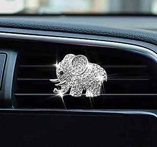 کلیپ های خوشبو کننده ماشین Vent Clips ناز Bling Diamond Elephant تهویه مطبوع ماشین کلیپ خروجی لوازم تزئینی داخلی (نقره ای)