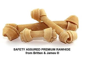 Britten & James (MD Os à Nouer en Cuir Brut à sécurité Naturelle pour Chiens. M Paquet de 10. NOYEN 150mm
