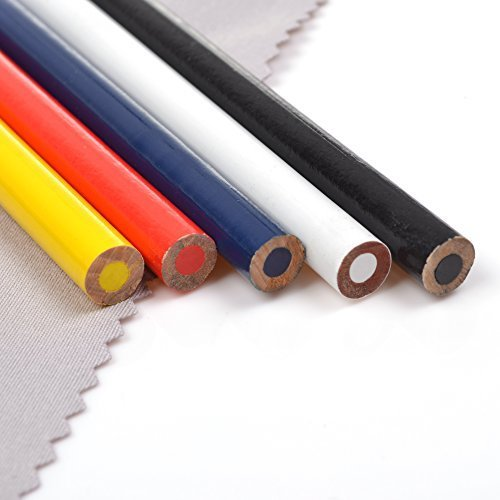 LUTIONS 5 Pcs Assorted Colors Pencil Sewing Mark, Tailor's Marking and Tracing Tools (Blue Red Black White Yellow)