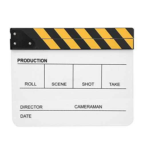 30x25 CM Claqueta de acrílico orgánico Película Director de películas Acción Clap Fotografía Herramienta, Adecuado para juegos de roles, Edición, Fabricación de videos Película de cine(PAV1CWE3)
