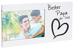 Brandsseller Bilderrahmen Fotorahmen - Bester Papa der Welt - mit Spiegelherz 25x13x1,5 cm Matt-Weiß