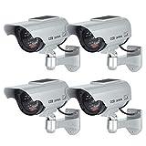 TOROTON Caméras factices avec Panneau Solaire, Fausse de Sécurité Caméra CCTV avec LED Lumière pour Usage Intérieur Extérieur (4 Pack, Argent)