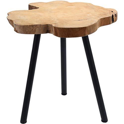 Teakhouten bijzettafel J010, houten tafel, wortelhout, driepoot-tafel van massief hout
