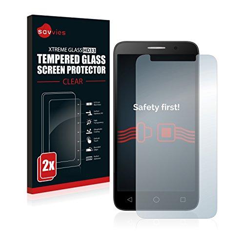 Savvies Panzerglas kompatibel mit Alcatel One Touch Pop 3 (5) (2 Stück) - Echt-Glas, 9H Härte, Anti-Fingerprint