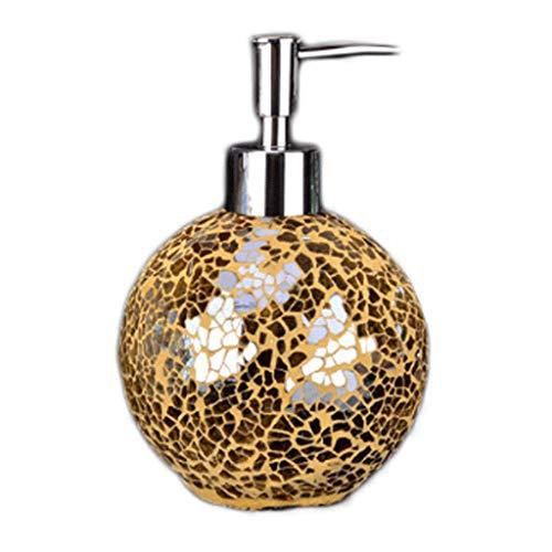 Aveo Schaumseifenspender Handgearbeiteter Seifenspender aus Mosaikglas - Pumpe aus verchromtem Kunststoff - 460 ml können in Shampoo, Handseife usw. gegossen Werden Duschlotionsspender (Color : Gold)