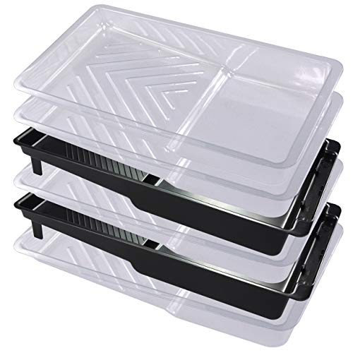 4 Piece 4 inch Paint Tray Liner with 2 Piece Black Paint Roller Tray Plastic Paint Trays Liner (4pack) for Household