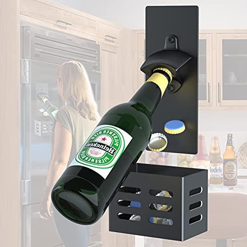 LEcylankEr Abrebotellas de Pared con Magnetico,Abridor Cerveza de tapas de botella,Regalos para padres,amantes,hijos,amigos (negro)
