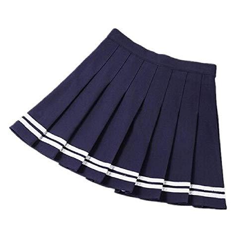 KAMKIR Falda plisada de cintura alta, uniforme escolar, Azul, L
