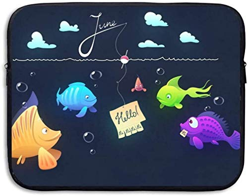 Hello Fish Tablet Sleeve Case Laptop Travel Cover Sleeve Bag Fit 15″ PC Notebook Business Briefcase Messenger Work
