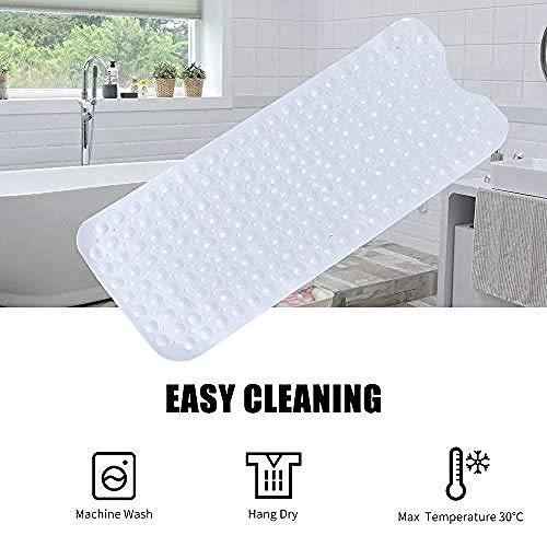 Ying-feirt Extra Lange Badmat Anti-Slip Tub Mat met Zuignappen 100 * 40cm lange PVC Douchemat Medium Grijs