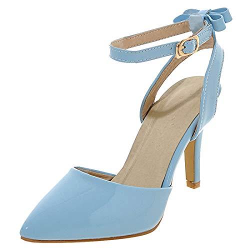 Artfaerie Damen High Heels Stiletto Spitz Slingback Pumps Lack mit Riemchen und Schleife Hinten 8cm Absatz (EU 38,Blau)