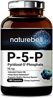 NatureBell P5P as Pyridoxal 5 Phosphate 75mg, 180 Capsules, Activated Vitamin B6, Powerfully Support Metabolism, Nervous System and Brain Health, No GMOs and Made in USA.