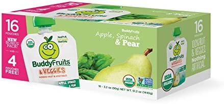 Buddy Fruits Blended Fruit and Veggies Squeeze Snack Pouches Apple Spinach Pear 3 2 Ounce Packages product image