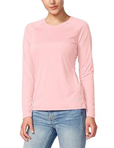 BALEAF Women's Long Sleeve Shirts UPF 50+ Sun Protection SPF Quick Dry Lightweight T-Shirt Outdoor Hiking Runing Fishing Seashell Pink Size XXL