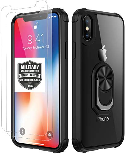 iPhone X Case | iPhone Xs Case,[ Military Grade ] with [ Glass Screen Protector] 15ft. Drop Tested Protective Case | Kickstand | Compatible with Apple iPhone X Xs -Black