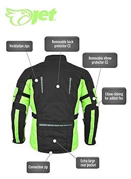 Jet Blouson Veste Moto Homme Imperméable avec Armure Textile (Noir Fluro, M)