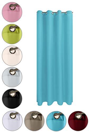 wometo Vorhang mit 8 rostfreien Metall Ösen Blickdicht 140x245 cm Türvorhang Ösenvorhang - türkis hellblau