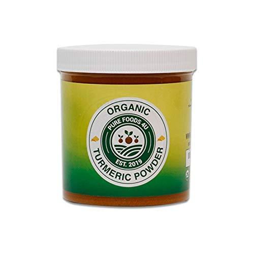 Pure Foods 4U Organic Wild Turmeric Root Powder |100% Raw Superfood from Ethiopia | Non-GMO | Gluten-Free | Kosher | Non-Irradiated | Vegan | (8OZ)