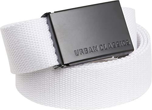 Urban Classics Gürtel Canvas Belt Unisex Damen und Herren, Länge 120 cm, Höhe 3,7 cm, White/Black, one size