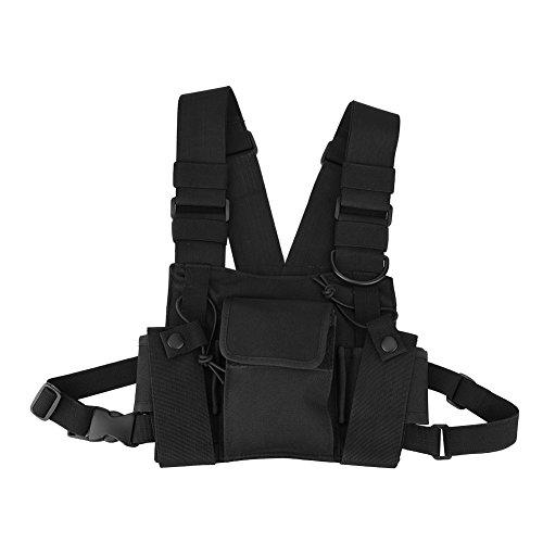 Bolsa peitoral para mãos livres, bolsa de rádio ajustável, cinto de rádio, estrutura razoável, qualidade militar, tamanho de personalidade para walkie-talkie, rádio bidirecional
