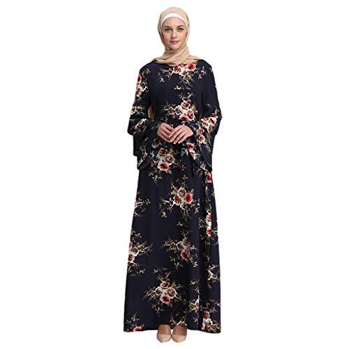 GJKK Muslim Blumenkleid Muslimische MaxiKleid Muslimische Roben Trompete Ärmel Stickerei Muslimische Elegantes Swing-Kleid Schwarz/Rot/Weiß/Gelb