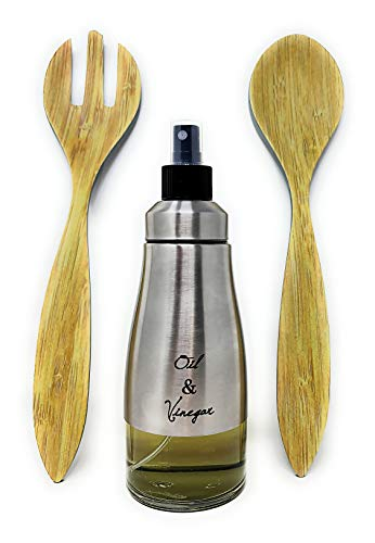 Pack » Cubierto Para Servir Ensalada Eco-Friendly + Pulverizador de Aceite en Spray (Bambú  + Pulverizador)