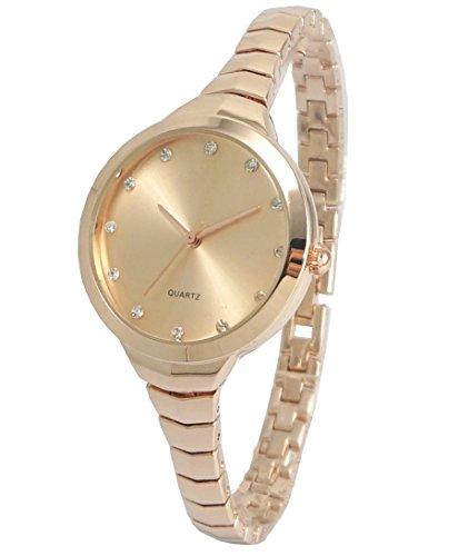 Weibliche Mode Tabellen Armband Quarz Damenuhr , rose gold