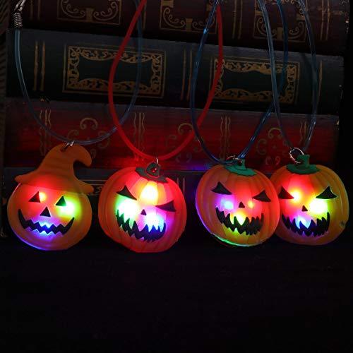 ifundom Collar de Halloween, 4 unidades de collar LED de Halloween, collar de calabaza, regalo de fiesta de Halloween, decoración intermitente, trucos de regalo para mujeres, hombres, paquete familiar