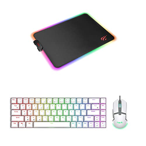 Havit 60% Wireless Mechanical Keyboard and Wired Mouse & RGB Gaming Mouse Pad Combo