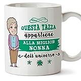 Mugffins Nonna Tazza/Mug - Questa Tazza Appartiene alla Miglior Nonna dell'Universo - Idea Regalo Festa della Mamma/Tazza Migliore Nonna in Ceramica. 350 ml