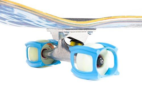 SkaterTrainer 2.0, Gummimanschetten für Skateboard-Rollen, das ideale Zubehör, um Ihren Ollie und Kickflip zu perfektionieren–Sie werden Ihre Tricks in kürzester Zeit beherrschen, neonblau