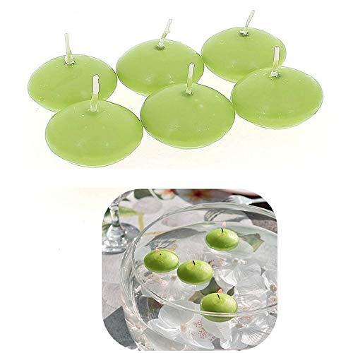 Doge Lot de 6 Bougies flottantes Couleur Vert Anis, diam. 4,5cm, durée env. 4h30