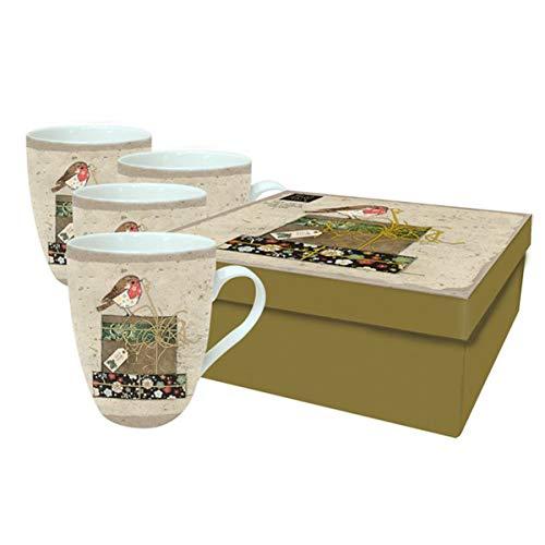 Bug Art [Q2818 - Coffret 4 Mugs Porcelaine (Rouge Gorge noël) - 10.5x7 mm