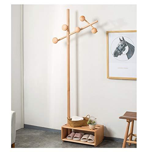 ROEWP Percheros de Pasillo Creativo Moderno Haya Escudo Zapatero de Almacenamiento multifunción Perchero Dormitorio Colgar la Ropa Planta Permanente Percha Percheros de pie paraguero (Color : B)